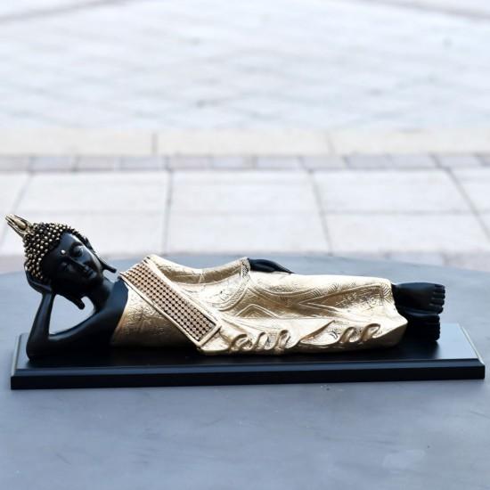 "Big Size Golden Resting Buddha Statue, God Idol Statue (13"" Length)"