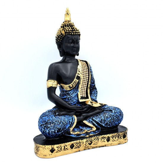 Sitting Buddha Idol Statue Showpiece for Home Decoration (Blue Color)