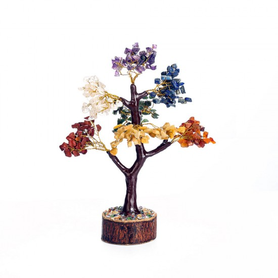 Seven Chakra Natural Healing Gemstone Crystal Bonsai Fortune Money Tree for Good Luck, Wealth & Prosperity Home Office Kitchen Décor Spiritual Gift