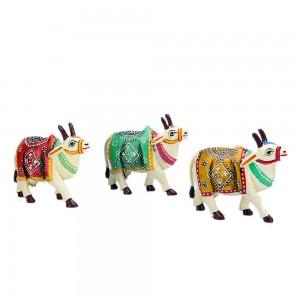 Mandala Art Indian Wooden Miniature Cow Statue, Sy...