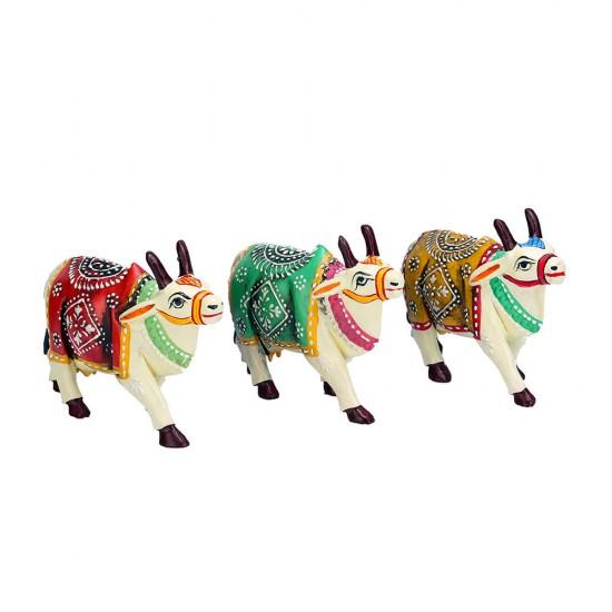 Mandala Art Indian Wooden Miniature Cow Statue, Symbol of Hinduism (Set of 3)