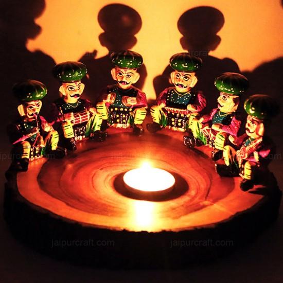 Handmade Decorative Musician Bawla Set, Wooden Rajasthani Musician Set, Table Décor Handicraft (Set of 6)