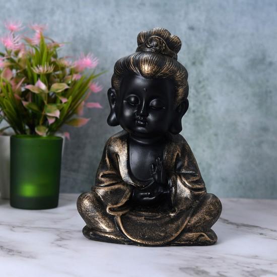 Black Gold Antique Finish Buddha Monk Statue, Baby Monk Showpiece