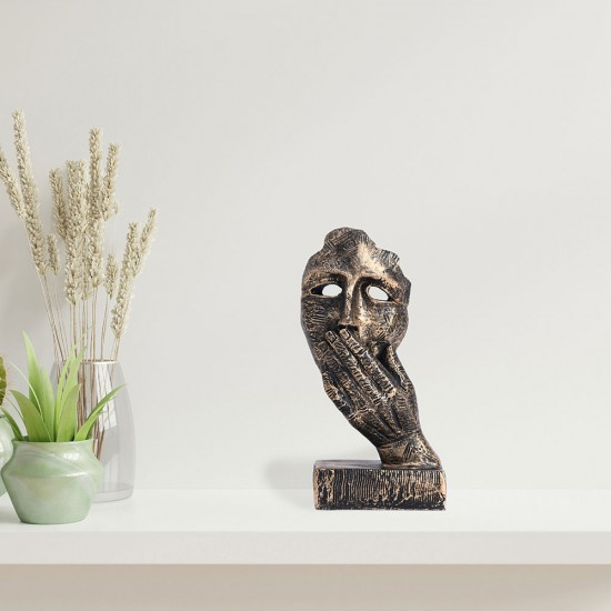 The Thinker Statue, 13X 23 x 9 Cms, Black Silver, 1 Piece