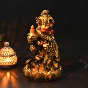 Beautiful Ganesha on Peacock Figure Backflow Smoke...