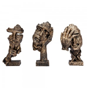 3 Pcs Thinker Statue, Silence is Gold Abstract Art...