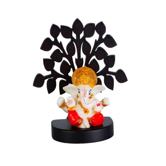 Lord Ganesha Sitting under tree, Ganesh Ji Idol Sculpture for Home Office and Gifts Decor Decorative Showpiece Decorative Showpiece