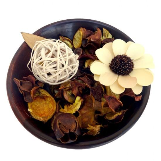 Wooden Botanical fragrant Potpourri Bowl with Lemon Grass