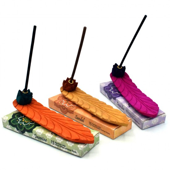 Wooden Handpainted Banana Leaf Shape Incense Stands Ash Catcher Set of 3 with 3 High quality perfumed Incense Packs.