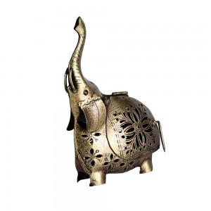 Elephant Showpiece Statue Iron Tea Light Candle Ho...