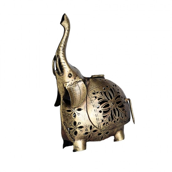 Elephant Showpiece Statue Iron Tea Light Candle Holder for Home Living Room Decoration