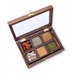 Sheesham Wooden Masala Dabba, Spice Box with Hand ...