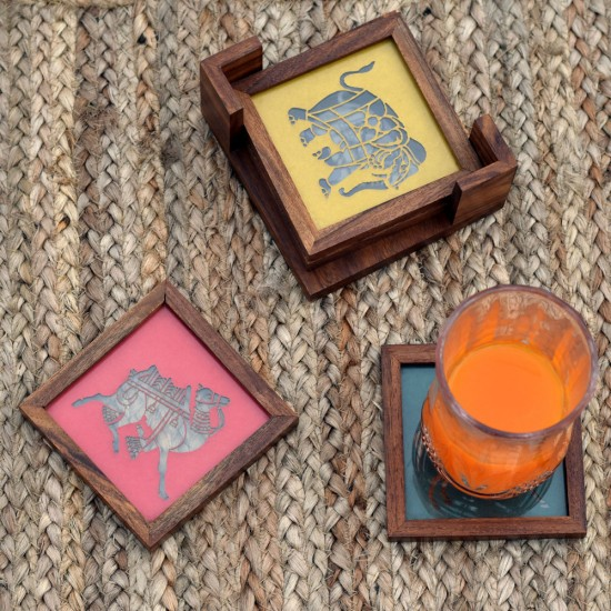 Wooden Tea Coaster, Multicolor Laser Cut Animal Double Glass Designer Set of 4 Wooden Coasters for Tea Coffee Table.