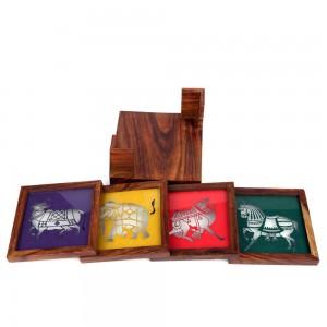 Wooden Tea Coaster, Multicolor Laser Cut Animal Do...