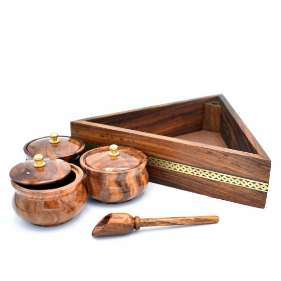 Wooden Triangular Tray With 3 Wooden Bowls, Lids and Spoon for rich Kitchen.