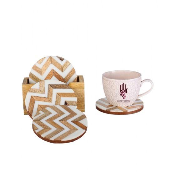 Set of 4 Resin Inlay Tea Coasters, Wooden Coaster Holder, Inlay Coasters, Coasters, Tea Coasters, Coffee Coasters (12 * 12 cm)