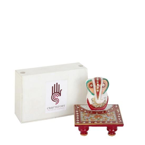 Hand Embossed & Cutting Stone Work Lord Ganesha on Chowki Desktop figurine, Marble Murti, Marble Chowki with Ganesha