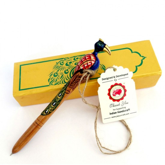 """Superbly hand crafted and miniature hand painted Wooden Peacock Shape Ball Pen with designer Handmade paper gift box: Royalty at Your Hand (7.5"""" H.)"""