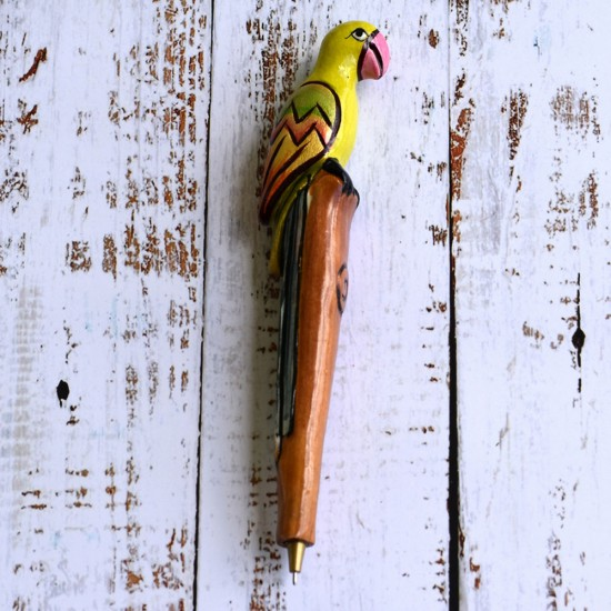 """Superbly hand crafted and miniature hand painted Wooden Parrot Shape Ball Pen with Handmade paper gift box, Designer Ball Pen (7.75"""" x 1"""")"""
