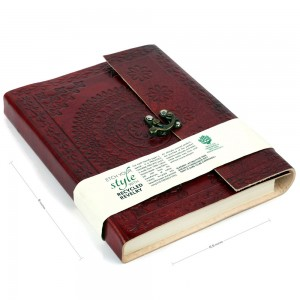 Large Cherry Color Hand Embossed Leather Diary Jou...
