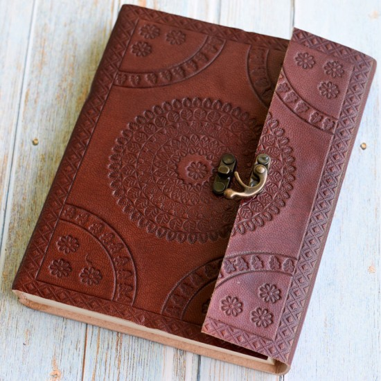 """Large Cherry Color Hand Embossed Leather Diary Journal Notebook contains Handmade Paper (8"""" x 6.25"""")"""