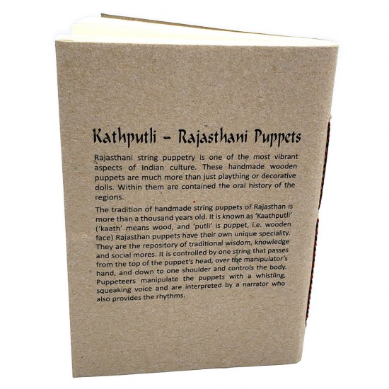 Ecofriendly Indian Puppet Theme Notebook, Easy to Carry Unlined Diary.