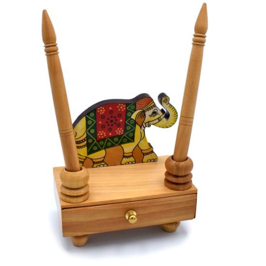 Munim Ji Style Handmade Wooden Elephant Box Drawer Duel Pen Holder With Designer Wooden Classic Ball pen Pair & Handmade Paper Slip Pad