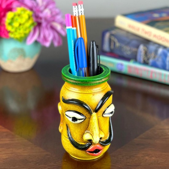 """Mustache Man Face Pen Holder crafted with Paper Mache on Wooden base 