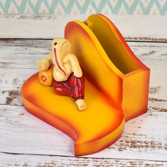 "Relaxing Pose Divine Ganesha Figure Desktop Card/Pencil Organizer, Pen Holder & Desk Organizer Decoration (4"" Tall)"