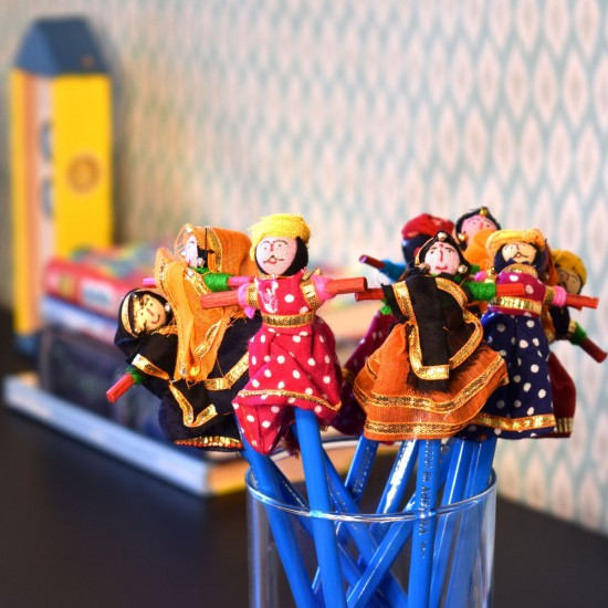 Rajasthani Couple Handmade Wooden Puppet HB Pencil 10 Couple Sets (Total 20 Pencils)