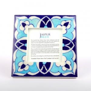Blue Pottery Ceramic Tile Photo Frame, Jaipur Blue...