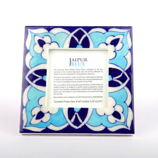 "Blue Pottery Ceramic Tile Photo Frame, Jaipur Blue Photo Frame (6"" x 6"")"