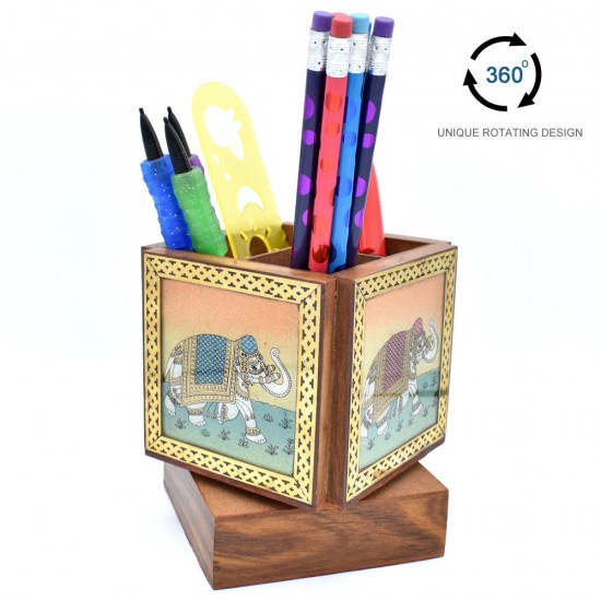Elephant Design Gem Stone Painting Sheesham Wood Revolving Desktop Organizer