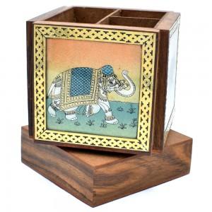 Elephant Design Gem Stone Painting Sheesham Wood R...