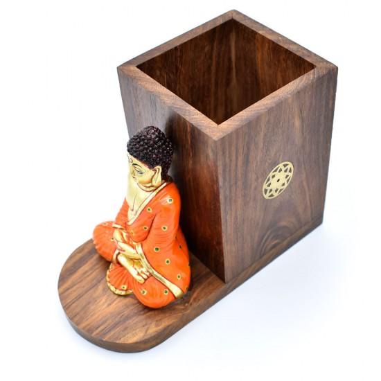 Buddha Figure Multicolored Pen Holder, Desktop Card/Pencil Organizer