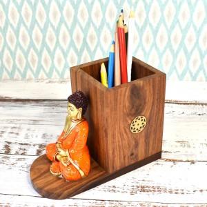 Buddha Figure Multicolored Pen Holder, Desktop Car...