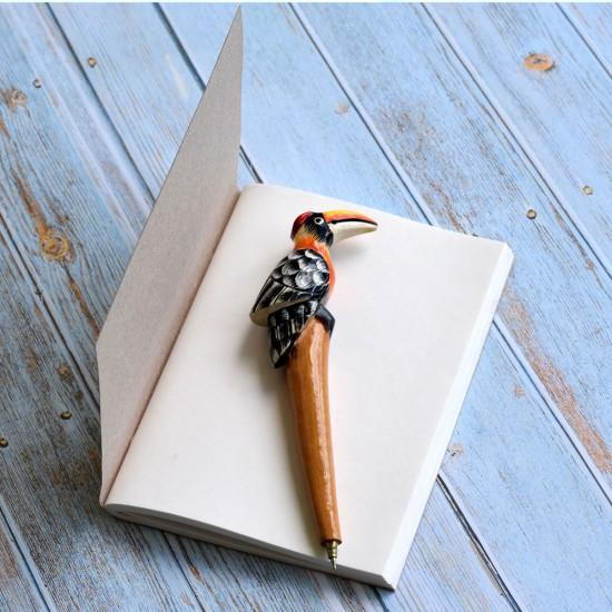 Handmade HornBill Bird Shape Refillable Ballpoint Pen Made With 100% Natural Wood, Superbly Hand Crafted and Miniature Designer HornBill Bird Pen