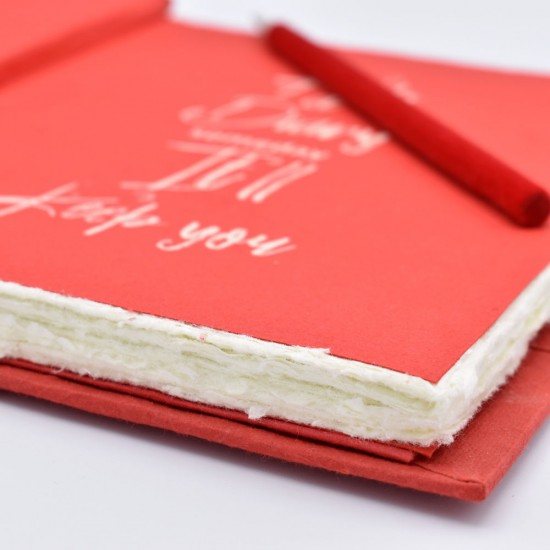 Large Handmade Deckled Edge Paper Executive Notebook, Writing Journal with Matching Velvet Pencil (red)