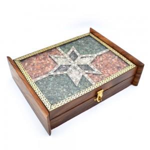 Handmade Real Semi Precious Gem Stone Filled Woode...
