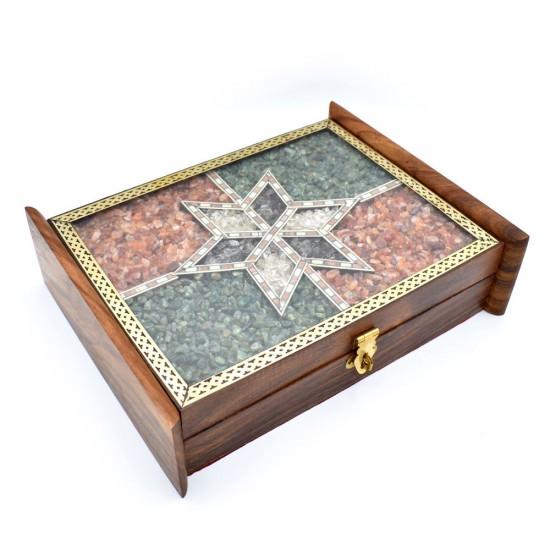 Handmade Real Semi Precious Gem Stone Filled Wooden Handmade Wall Mounted Keyholder/Key Cabinet / Key Rack with Lock