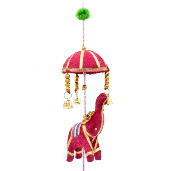 Elephant Figure with Umbrella Wall Hanging Pair, 4 Elephant Figure Each Hanging, Festival Decoration for Home (Multi Color Pair)