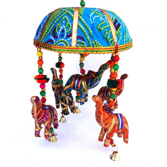 Umbrella with Elephant Figure Wall Hanging, Elephant Door Hanging Set of 2, Gifts for Home Decoration (Multi Color Pair)