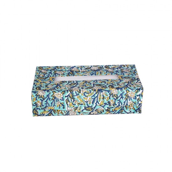 Handblocked Print Fabric Cover Tissue Paper Box/Cover/Holder (Foldable), Tissue Box