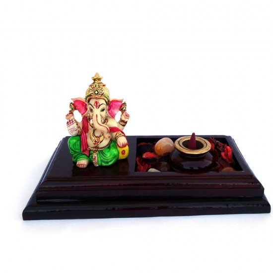 """Lord Ganesha Incense Cone Holder with Multicolored Potpourri & Polished Pebbles (3"""" x 6"""" x 2"""")"""