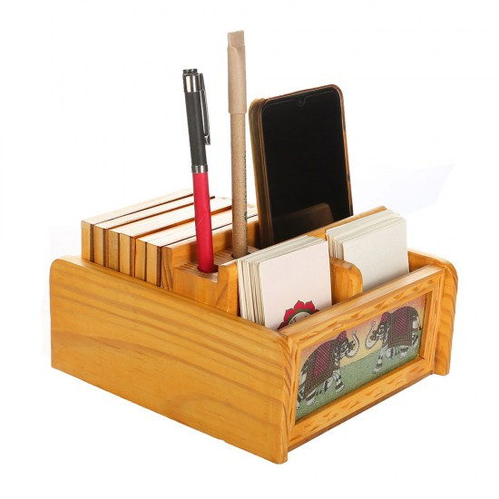 Gem Stone Painting Rotating Pine Wood Revolving Desktop Organizer with Elephant Design, 4 Gem Stone Painting Tea Coaster Included