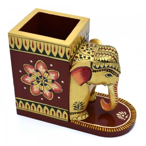 Hand Curved Elephant Face Wooden Pen Holder, Royal...