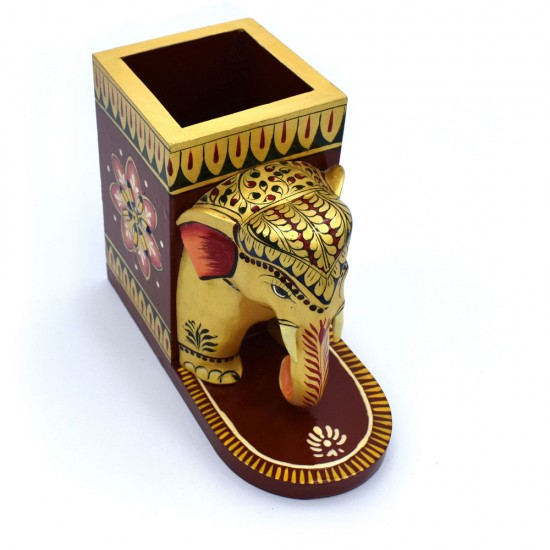 """Hand Curved Elephant Face Wooden Pen Holder, Royalty at your desk (4"""" Tall)"""