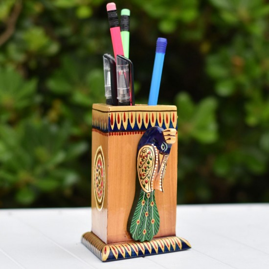 Miniature Hand Painted work Royal Indian Peacock Bird Triangle Pen / Pencil Holder