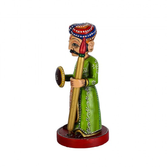 """Handcrafted Pen and Miniature Hand Painted Wooden Royal Guard Pen Holder Carrying Shield & Bhala ( 6.75"""" Tall)"""