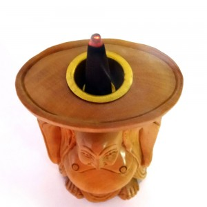 Wooden Laughing Buddha Aroma Cone Holder
